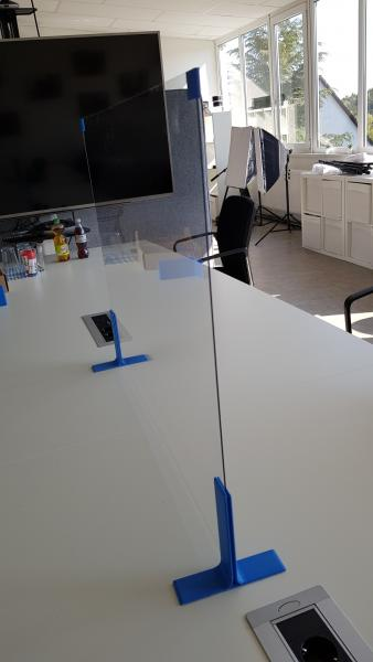gemeinsam3D: Easy Plexi - einfacher Spuckschutz 80x60cm aus Plexiglas (Polycarbonat) für das Büro