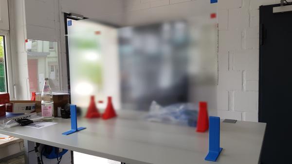 gemeinsam3D: Easy Plexi Milchglas - einfacher Spuckschutz 80x60cm aus Plexiglas (Polycarbonat) für d