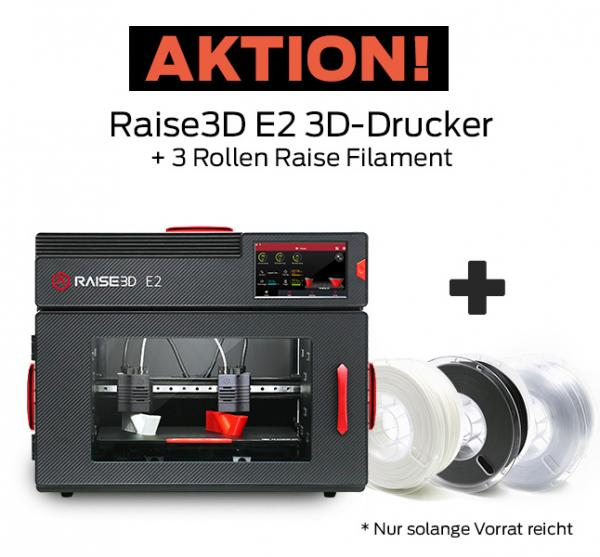 Bundle-Angebot: Raise3D E2 Mehrzweck-3D-Drucker mit Dual-Extruder + 3 Rollen Filament gratis