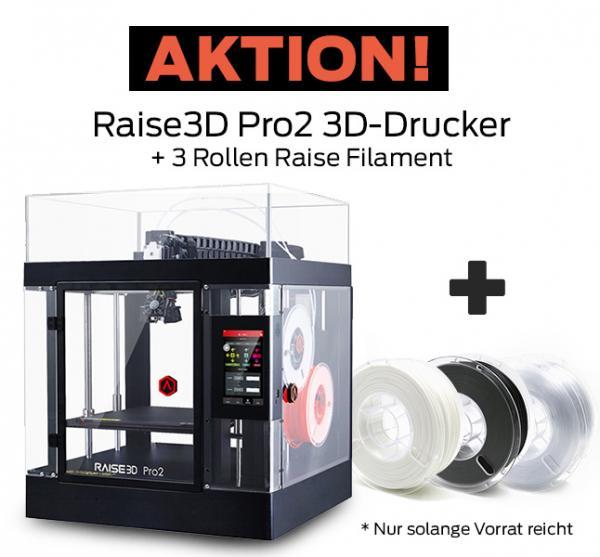 Bundle-Angebot: Raise3D Pro2 3D-Drucker mit Dual-Extruder + 3 Rollen Filament gratis