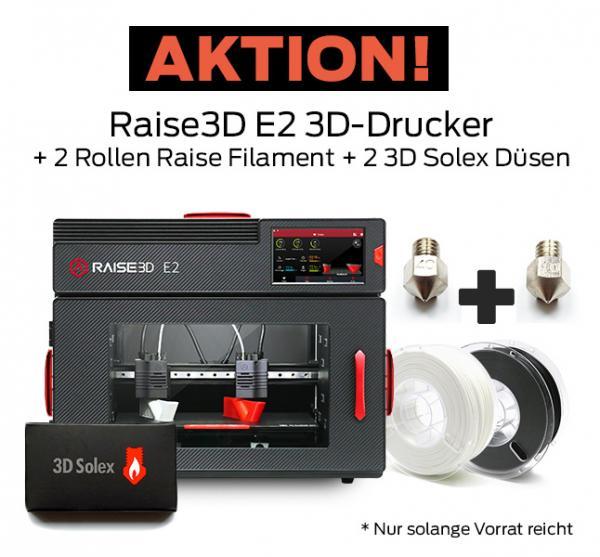 Bundle-Angebot: Raise3D E2 Mehrzweck-3D-Drucker mit Dual-Extruder + 2 Rollen Filament und 2 3D Solex